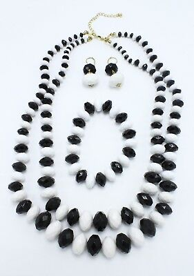 New Necklace Bracelet Earring Set with Black & White Stones in Gift Box #N2042