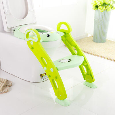 Potty Trainer Toilet Seat Chair Kids Toddler Ladder Step Up Training Stool Green