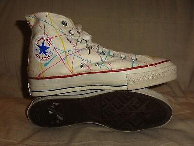 Vintage Converse Paint Splatters Hi Tops Made In Usa Size 9.5 Mens Extra Stitch
