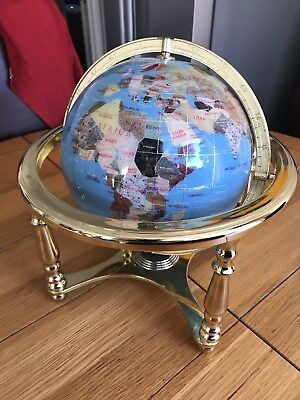 Large Lapis Semi-Precious Gemstone World Globe With Working  Compass