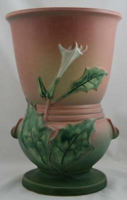 "Roseville Thornapple 12.5"" Rare Floor Vase In Gorgeous Pink/green Glazes 774-12"