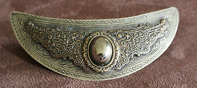Vintage Brass Large Barette Hair Bow Wings Crescent Bronze Stamped Antique Look