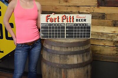 Vintage 1949 Pittsburgh  Pirates / Steelers  Fort Pitt Beer Metal Scorecard Sign