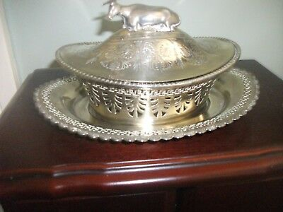 Antique silver plate butter dish and under plate with cow finial