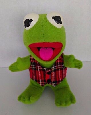Baby Kermit The Frog Muppets Green Plush with Plaid Vest 1987 Henson Green