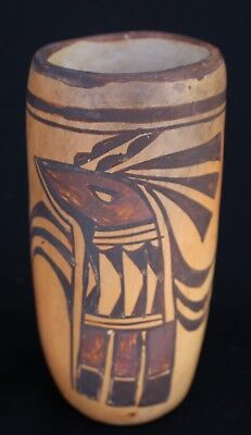 """Early 20th Century Hopi Pueblo Polychrome Pottery Cylinder Parrot Vase 6.5-x 3"""""""
