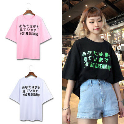 Women Summer Letter Printed T Shirt Japanese Round Neck Short Sleeve Casual Tee
