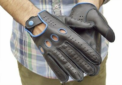 Top Quality Sheepskin Real Soft Leather Men Fashion Black Driving Gloves