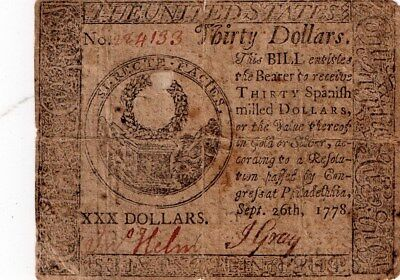 1778-40 Dollars Continental Currency-Helm/Gray