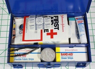 Vintage Wall Mount Johnson and Johnson First Aid Kit Blue Metal Box #8161