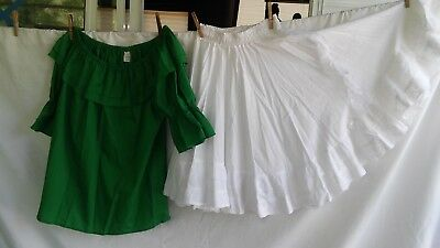 Square Dance Costume Outfit Emerald Green Blouse & White Lacy Skirt