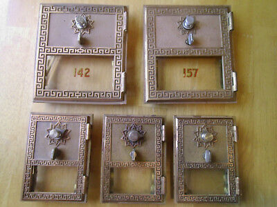 Lot of 5 Vintage US Post Office PO Box Doors, 2 Sizes, with Combination 1957-60