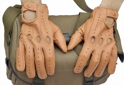 Top Quality Sheepskin Real Soft Leather Men Fashion Tan Driving Gloves