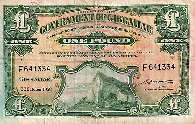 1958-One Pound Banknote From Gibralter In Better Grade
