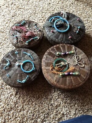 Lot Antique Chinese Sewing Baskets Glass Beads Fringe Woven Vintage