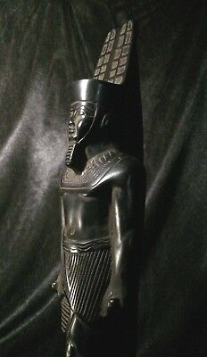 ANCIENT EGYPTIAN STATUE ANTIQUITIES Egypt Pharaohs King Amun Basalt Stone Bc