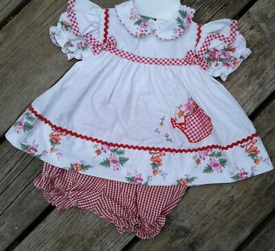 VTG Baby Girl's Dress Novelty watering can White Red Gingham Checker floral 24 M