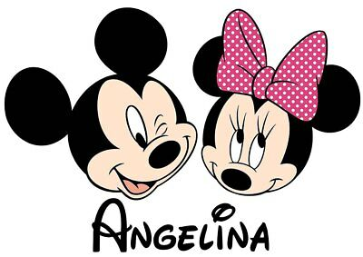 Mickey /& Minnie Mouse Faces PERSONALISED Iron On T Shirt Transfer Disney Kids