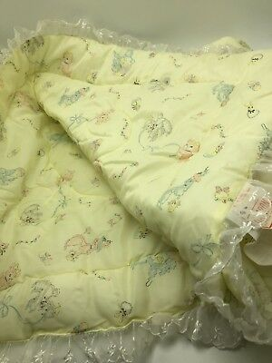 Vintage 1950s Quilted Dacron Nylon Baby Blanket Yellow Poodles Bears