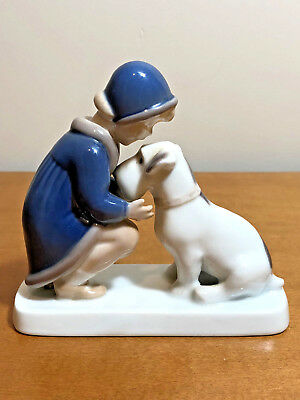 "B&G Bing & Grondahl Figurine ""Girl and Terrier Dog"" # 2163"
