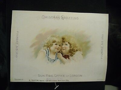 victorian trade card # 6228 - CHRISTMAS - SUN FIRE OFFICE of LONDON - EXTRA LARG