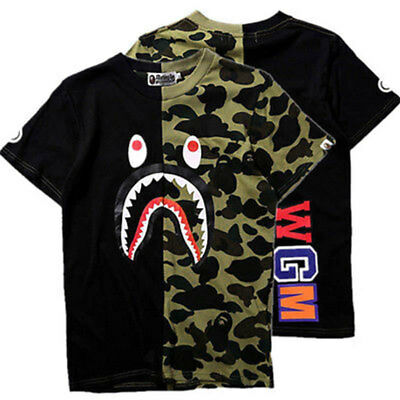 New Mens Ape Shark Head Camo Army T-shirt Tops M purple Bape A Bathing T-shirt