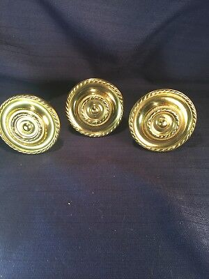 "Vintage Fancy Large Heavy Brass Curtain Tiebacks / Hold backs 3"" in dia Lot of 3"