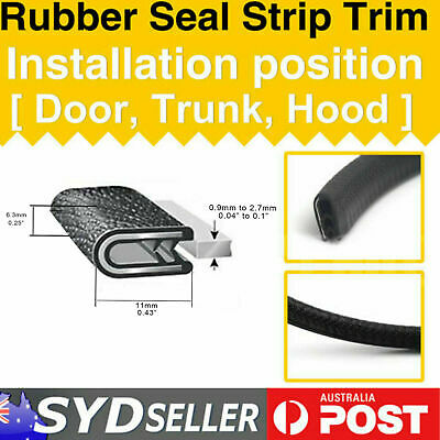 2M Car Pinchweld Pinch Weld Protector Edging Rubber Seal Strips With Alum Clips