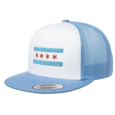 Chicago Flag Mesh Flag Hat Snapback with White Front Panel Yupoong Adult Classic