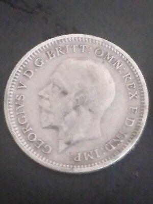 1935 Great Britain  3 Pence Silver Coin, Free Shipping