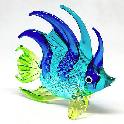 Glass Figurines Blue Fish Aquarium Collectible Miniature Hand Blown Home Decor