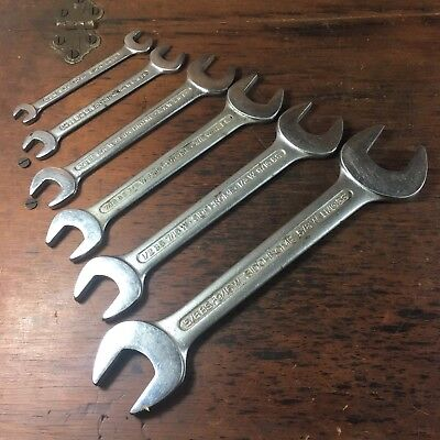 Set X6 Vintage Sidchrome Whitworth & Bs Open Ended Spanners Excellent Cond.