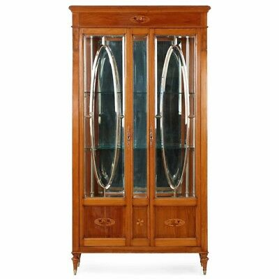 Antique Vintage Style Curio Display Cabinet Wood Glass Door Wall