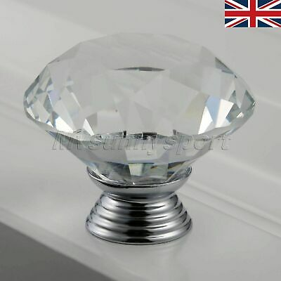 UK STOCK 40mm Clear Diamond Crystal Glass Door Knobs Handle Cabinet Drawer Pulls
