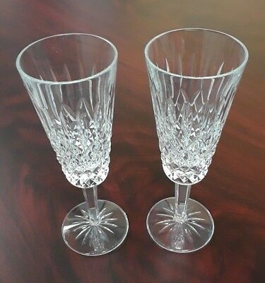 Set of (2) Waterford Crystal Alana Champagne Flute Glasses. Great Condition!