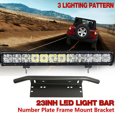23inch PHILIPS LED Work Light Bar + 23'' Number Plate Frame Mount Bracket 4X4WD