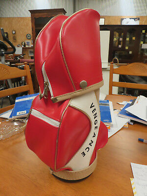 Golf Bag Design, Bottle/Drink Cooler, Near New Condition, Leather, Red/Beige/Bla