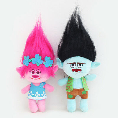 2Pcs Movie Trolls Poppy & Branch Hug 'N Plush Doll Toy Set Gift 9'' 23CM