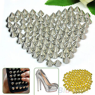 BL_ 100 Pcs 10mm Stud Round Spike Rivet Craft Bag Leather Craft Accessories Part