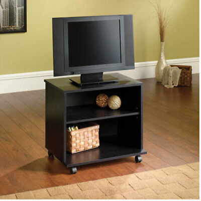 Tv Stand With Wheels 26 Inch Portable Rolling Media Cart Black Wood