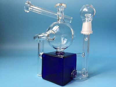 Glass bong bong recycler 6 inch water pipes blue Clear bong square Hookahs