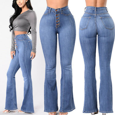 Women Sexy Solid High Waist Denim Skinny Stretch Jeans Pencil Trousers Pants US