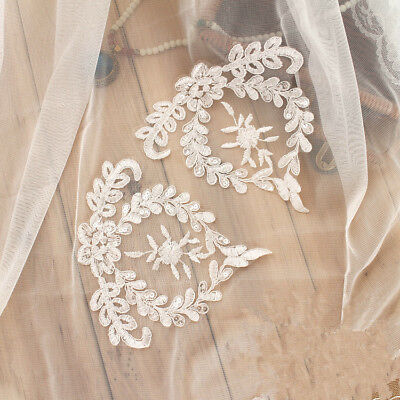 1 Pair Sequin Bridal Lace Applique Embroidery Wedding Motif Trim Craft DIY Patch