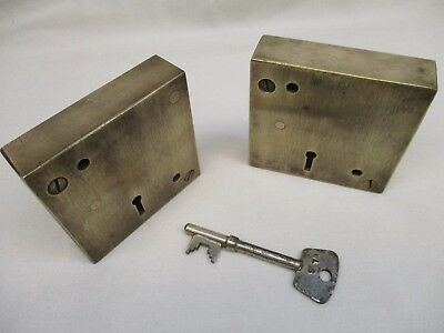 Two antique solid brass locks, working, large heavy old vintage