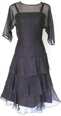 Vintage 1960s Black Red Polka Dots Tiered Dress S