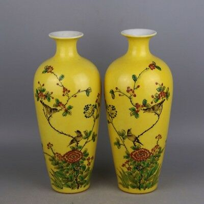 Chinese Old Pair Marked Famille Rose Yellow Glaze Flowers Birds Porcelain Vases
