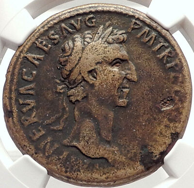 NERVA Genuine 97AD SESTERTIUS Authentic Ancient Roman Coin FORTUNA NGC i69325