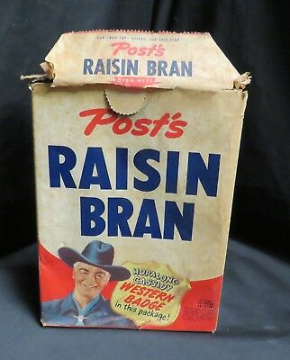 Vintage Post Raisin Bran Cereal Box, Hop-A-Long Cassidy, 10 oz