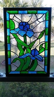 Stained Glass Window Panel Hand Painted