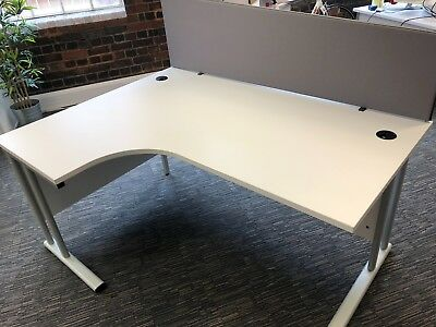 White Curved Cantilever Office Desk - 1600mm x 1200mm - Priced for quick sale